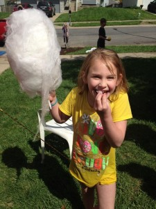 She thinks cotton candy is yummy.