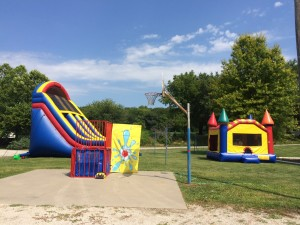 Big Party with Dunk Tank, Giant Slide and Large Castle. Add Cotton Candy and SnowCones.