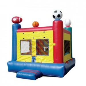 sports themed bounce house with variety of balls atop the four corners, multi colored uni-sex party rental inflatable unit